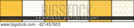Set Of Floral Combinable Seamless Patterns. Hand Drawn Tulip Lineart Botanical Elements Warm Yellow
