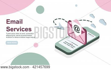 Web Page Design Template. Email Service Isometric Vector Illustration. Webmail Or Mobile Service Lay