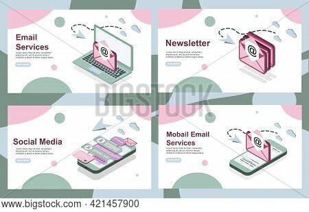Landing Pages. Email Marketing, Email Service, Mail Services. Set Of Web Pages. Modern Web Pages For