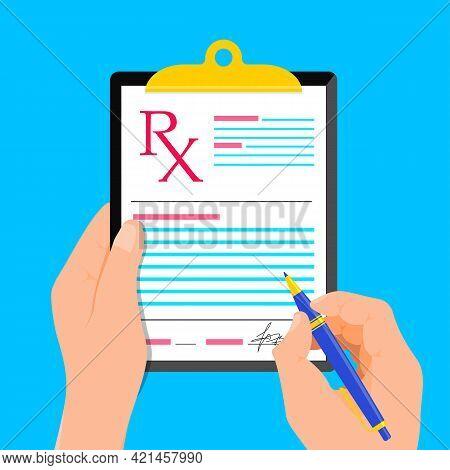 Rx Medical Prescription. Doctor Writing Signature Rx Recipe Form Modern Flat Design. Health Care. Me