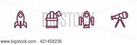 Set Line Rocket Ship, , Astronomical Observatory And Telescope Icon. Vector