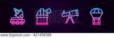 Set Line Mars Rover, Astronomical Observatory, Telescope And Box Flying Parachute. Glowing Neon Icon