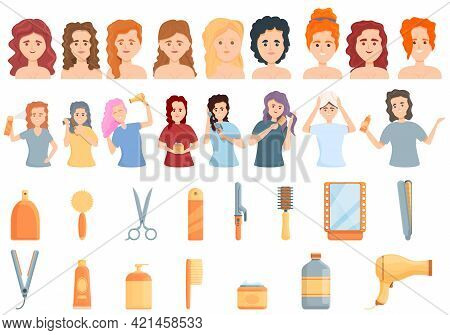 Curly Hair Care Icons Set. Cartoon Set Of Curly Hair Care Vector Icons For Web Design