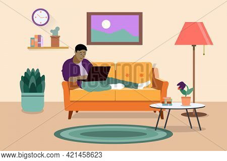 Freelancer Working At Home With Laptop Computer On Cozy Sofa. Self Employed, Freedom, In Living Room