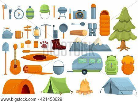 Campsite Icons Set. Cartoon Set Of Campsite Vector Icons For Web Design