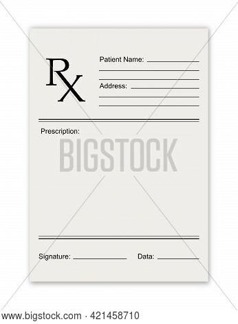 Rx Medical Prescription Empty Blank. Rx Recipe Form Modern Flat Design. Health Care. Medical Insuran