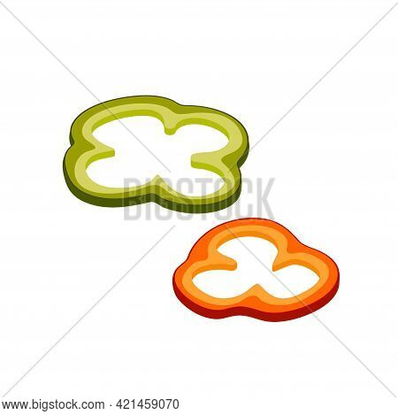 Two Pieces Of Paprika. Isolated Red And Green Sweet Pepper. Sliced Bell Pepper. Vector Illustration