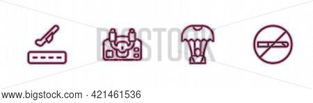 Set Line Plane Takeoff, Parachute, Aircraft Steering Helm And No Smoking Icon. Vector