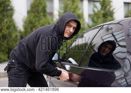 Car Jacking Thief Steal Car Breaking Door Criminal Job Burglar Hijacks Auto Thief Black Balaclava Ho