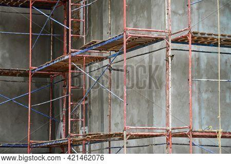renovation or repair of a building facade using scaffolding