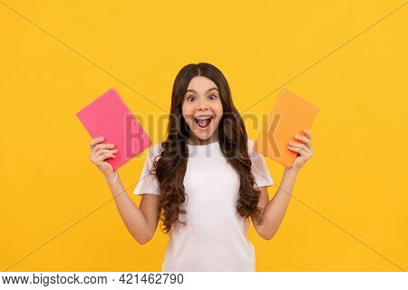 Girl With Grammar Book. Bookish Kid In Book Store. Student Ready For Studying. Childrens Literature.