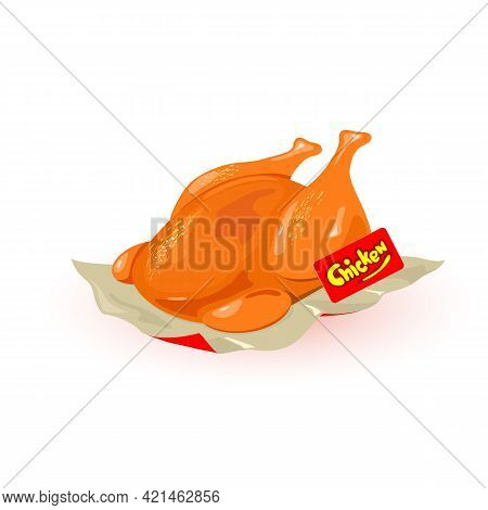 Delicious Aromatic Baked Chicken In Oven Served On Paper. Vector Golden Crust On Legs, Fast Food, Un