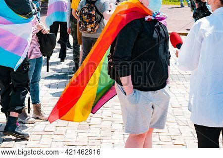 Lgbt Activist Wrapped In Flag Taking A Part In Interview And Talks Something In Microphone. Transgen