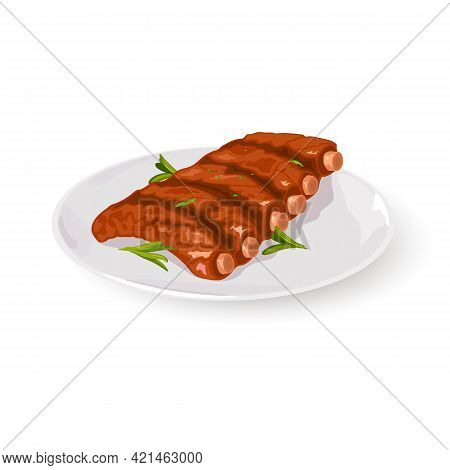 Golden Crust On Meat Dish Decorated With Fresh Greenery, Vitaminized Meal. Vector Nutritious Food, D