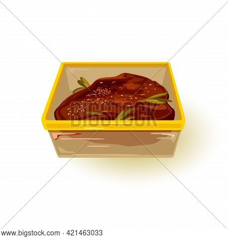 Part Of Delicious Meat With And Sauce In Plastic Container. Vector Prepare For Nutritious Protein Di