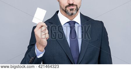 Successful Ceo Suggest Easy Banking Profit Payment. Cropped Man Boss In Businesslike Suit.