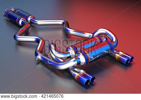Tuning Exhaust System For A Sports Car. Car Muffler, Exhaust Silencer.