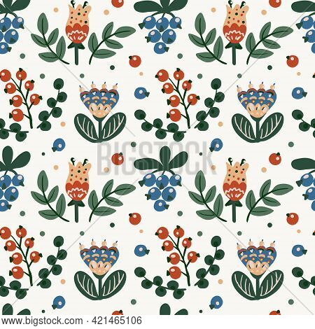 Seamless Botanical Floral Pattern Of Elements In Folk Ethnic Style. Flowers, Leaves And Berries. Sim