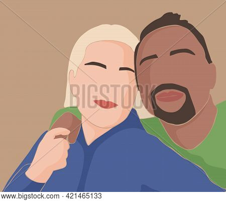 An Abstract Pair Of Lovers Embracing. A White European Woman And A Man With Dark Skin. Concept Of Ra