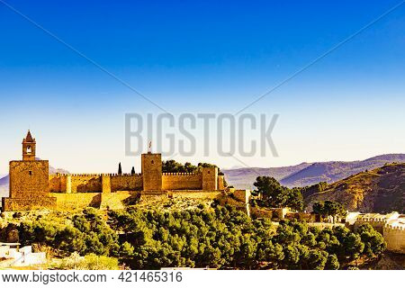 The Alcazaba Fortress In Antequera, Province Of Malaga, Andalucia Spain. Historical Landmark.