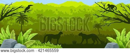 Jungle Forest Vector Silhouette Background, Tropical Amazon Outline Landscape, Rainforest Panoramic