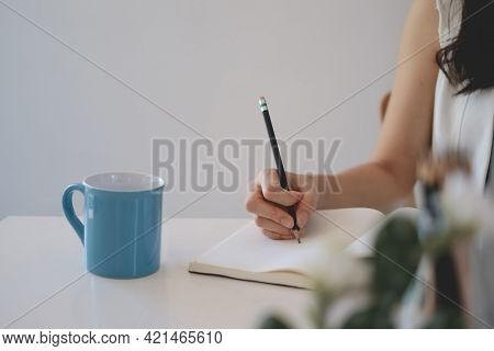 Young Female College Taking Notes And Using Highlighter. Focused Student In Online Class Room. Authe