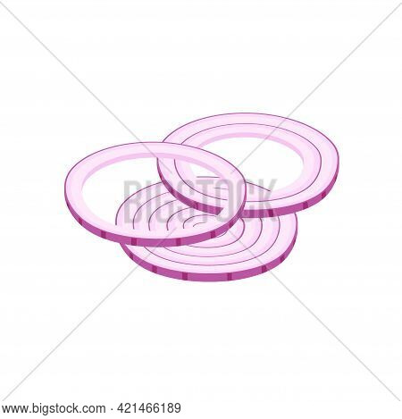 Icon Red Onion Sliced With Rings. Portion Slises Red Bow. Vector Illustration Isolated On White. Fla