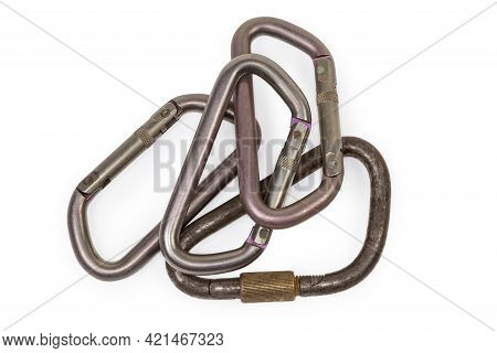 Vintage Steel Locking Triangular Shape Carabiner With Straight Screw Gate And Several Oval Titanium
