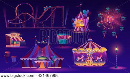 Amusement Park Night Set. Ferris Wheel, Big Top Circus Tent, Roller Coaster Racing , Carousel With H