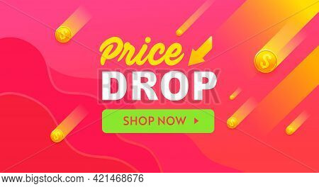 Price Drop Red Vector Banner, Sale Poster Design. Discount Offer Template Banner. Price Drop Vector