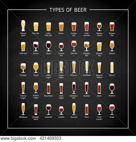 Types Of Beer Flat Icons On Black Chalk Board. Vector