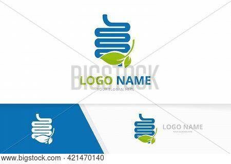 Premium Colon And Leaves Logotype Design Template. Vector Intestine Logo Combination.