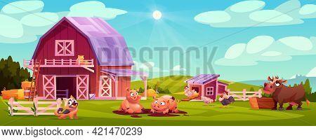 Colorful Farmyard With Domestic Animals And Poultry Outside Wooden Barn Green Rural Scenery Vector I