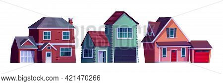 Suburban Street, Home Rural Country Buildings Isolated Cartoon Icons. Vector Condominium Apartments