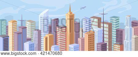 Downtown At Day, Facade Exteriors Of Urban Buildings, Flat Cartoon Design. Vector Modern City Panora