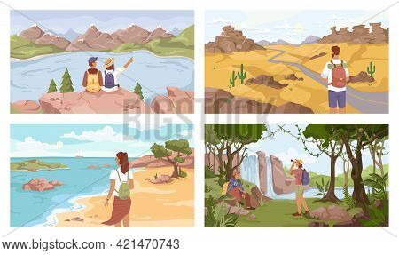 Travelers On Different Terrain Set, Mountains, Lake, Seashore, Jungle, Desert. Vector Man Woman With