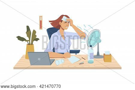 Heat In Office, Refreshing Summer Cooler Ventilator Blowing On Woman At Workplace, Table With Fan, L