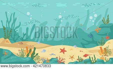 Underwater World Sea Bottom, Algae And Coral Reef, Sea Stars And Fish, Flat Cartoon Background. Vect