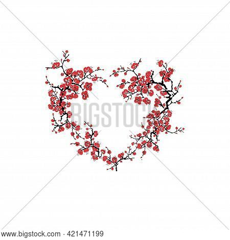 Abstract Heart Frame Of Cherry Branch Blossom Isolated On White Background. Sakura Blooming - Cherry
