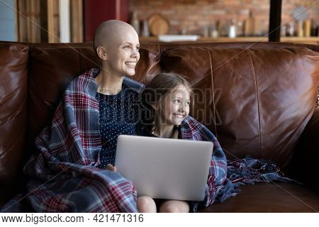 Happy Ill Hairless Mom And Little Daughter Kid