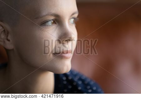 Face Of Thoughtful Hairless Oncology Patient Thinking Of Life