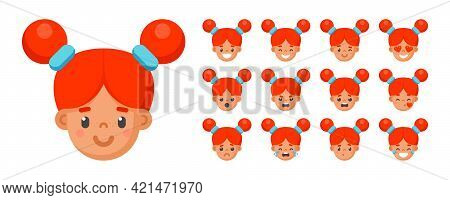 Set Of Cartoon Cute Redhead Girl Face Emotions In A Flat Style. Facial Expression Child Avatars Head