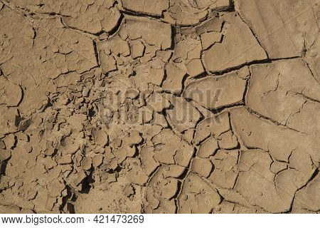 Drought. Dry And Cracked Earth.dehydration.without Water. Land, Summer, Ground