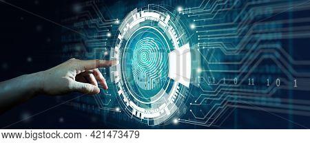 Businessman Using Fingerprint Scan. Fingerprint Scan Provides Access With Biometrics Identification