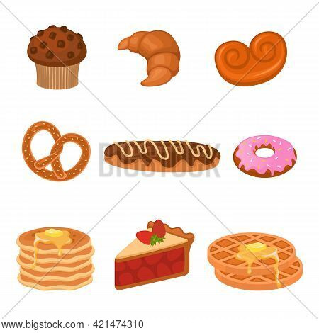Cartoon Cakes. Wheat Products Set. Sweet Pretzel And Croissant, Donut And Cupcake, Waffles And Piece