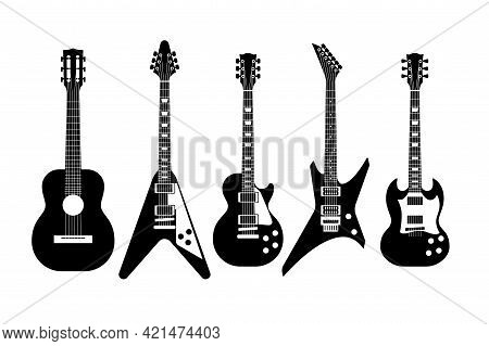 Guitars Black And White. Electric And Acoustic Guitar Various Forms, Outline Musical Instrument, Cla