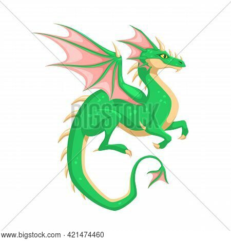 Magic Dragon. Winged Green Dragon. Fantasy Vibrant Colors Creature, Mythical Cute Reptile, Medieval