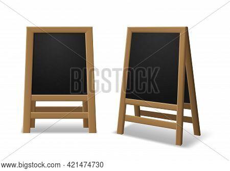 Announcement Menu Board. Black Wooden Realistic Easel, Sidewalk Stand, Restaurant Board Different An