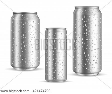 Cold Cans Realistic. Tin Or Silver Metal Wet Blank Energy Drink And Beer Cans With Droplets, Water O