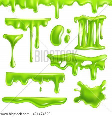 Green Slime Realistic. Goo Splashes And Mucus Smudges, Slimy Toxic Blots. Halloween Liquid Decoratio